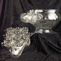 Vintage Glass Punch Bowl Set Crystal Fruit Design 12 Cups Ladle Hooks Je... - $53.14