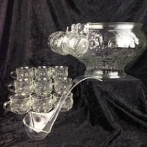 Vintage Glass Punch Bowl Set Crystal Fruit Design 12 Cups Ladle Hooks Jeannette - $53.14
