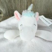 Unicorn Lovey Fleece Security Blanket Carter's White Pink Silver Lovie P... - $44.54