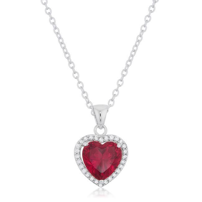 Garnet Red Heart Pendant
