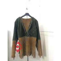 Men Native American Mountain Man Green & Brown Suede Leather Fringed Shirt FJ140 - $119.00