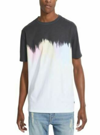 Guess Men's T-Shirt Black Size Medium  Graphic Tee Rainbow Abstract Printed