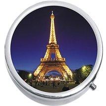 Eiffel Tower Night Paris Medicine Vitamin Compact Pill Box - $9.78