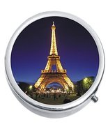 Eiffel Tower Night Paris Medicine Vitamin Compact Pill Box - $9.78