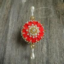 Beaded Velvet Ball Ornament Vintage Handmade Christmas Gold Filigree Vic... - $31.67