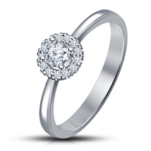 14k White Gp 925 Silver Round Cut Sim Diamond Solitaire W/Accent Engagement Ring - $68.05