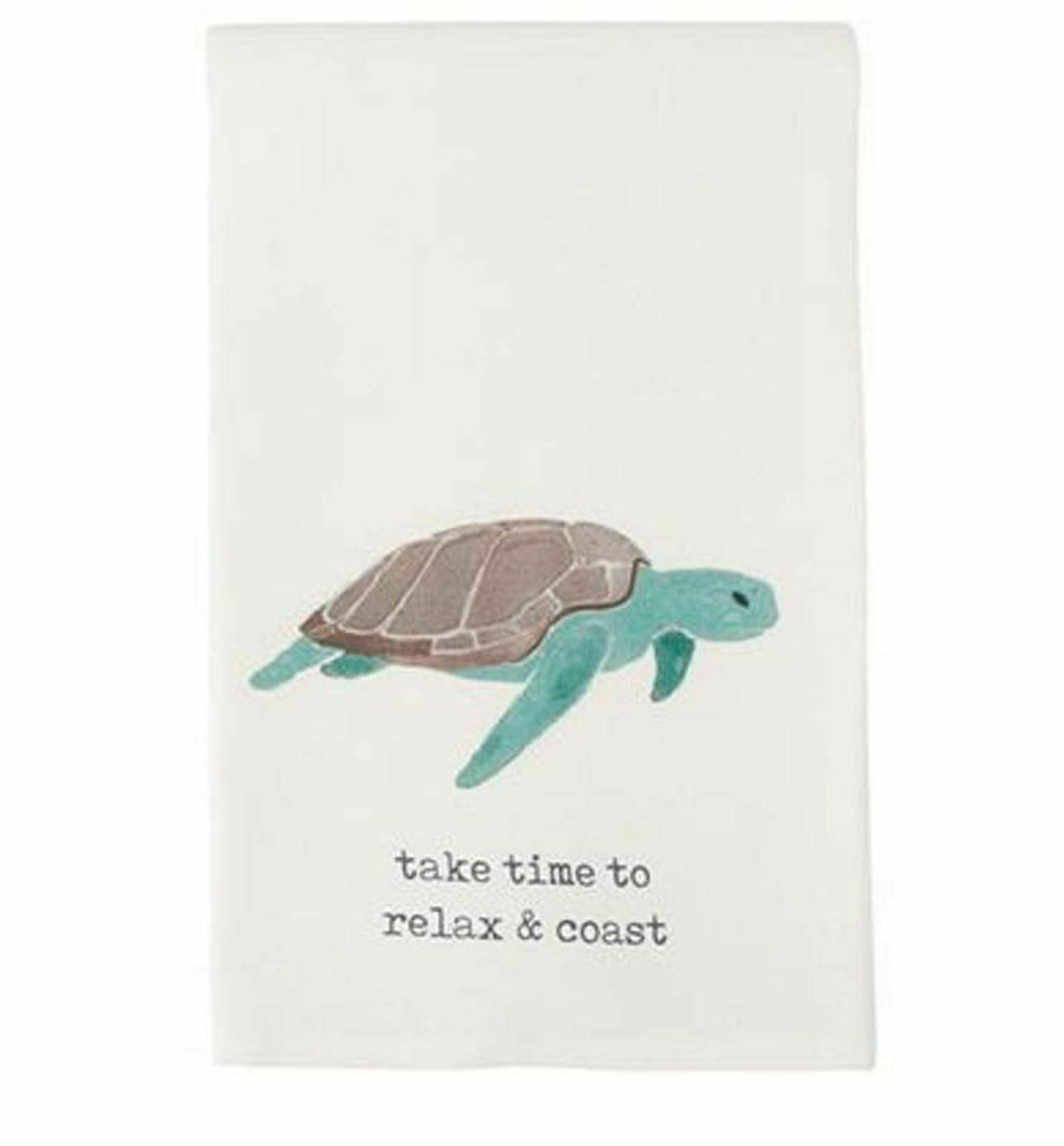 Sea Turtle Relax and Coast Nautical Icon Kitchen Dish Towel - $23.88