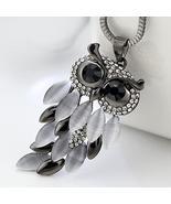 Owl Pendant Rhinestone Long Sweater Box Chain Necklace - $12.99+