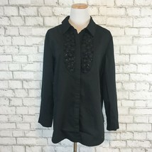 Chico's Women's Longsleeve Black Beaded Button Up Front Top Shirt Size 2... - $22.49