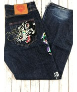 Ed Hardy Mens 2007 Distressed Embroidered Tiger Jeans Size 36 - $29.69