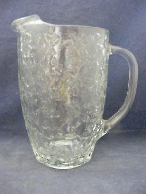 "Vintage Flowered Glass Pitcher 7.75"" x 5.25"" Molded Glass Milk Lemonade"