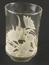 Libbey Juice Glass Clear with Light Beige Flowers Floral Vintage Replacement - $4.99