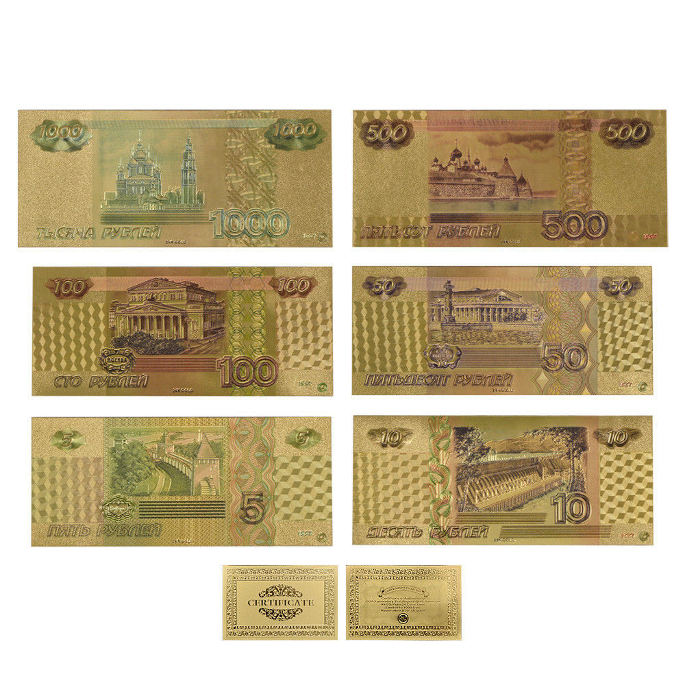 WR 6PCS England Great Britain Colored Pound Gold Banknote Set UK £5 £50 Gifts