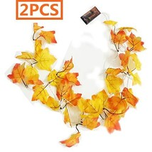 BJH 2PCS 8.2ft Thanksgiving Christmas Decorations Lighted Fall Garland M... - $9.37