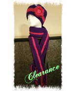 Purple & Pink Handmade Scarf & Hat Set - $25.00