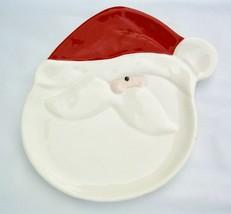 NWT Dept 56 Santa Snack Dessert Cookie Plate Red White Christmas Ceramic 7.5 in - $15.00