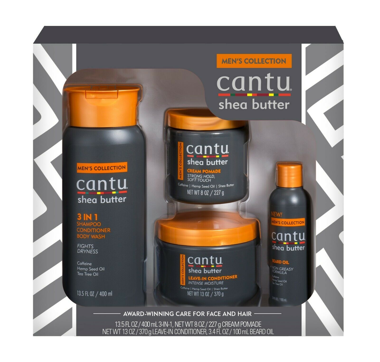 Primary image for Cantu Men's Collection Gift Set - Shampoo Pomade Beard Oil Leave-in Conditioner