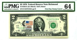 $2 DOLLARS 1976 FIRST DAY STAMP CANCEL COLUMBIA, S.C. 29201 LUCKY MONEY ... - $1,778.40