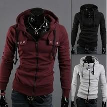 Leisure men cardigan fleece pure color tide male hooded coat thin model - $41.10
