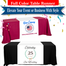 Customized Table Runners 2' x 6' Free Design with 9.0 oz Advertise your business image 1