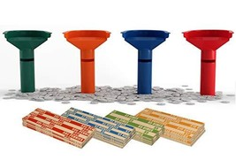 Easy Wrap Coin Stacking Tubes with 252 Coin Wrappers - Funnel Shaped Col... - $17.46