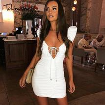 Tobinoone Strap Hollow Out Sexy Dress Women Criss Cross Knotted Slim Fit... - $43.02