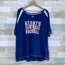 Majestic NY Giants Football Raglan Tee Blue White Cotton Womens Plus Siz... - $19.79