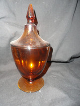 Amber Depression Glass Candy Dish with Lid - $19.99