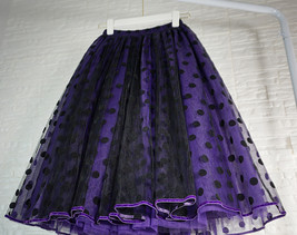 Romantic Puffy Floral Tulle Skirt High Waisted Knee Length Tulle Skirt Plus Size image 8