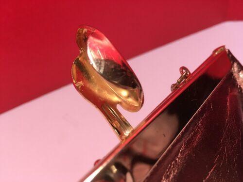 Block True Vintage Shiny Brass Color Leather Clutch/Evening/Bag Gold Hardware