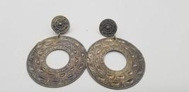 Vintage Silver Tone Big & Round Circle BOHO Hammered Design Pierced Earr... - $15.44