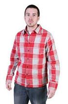 Tavik Uomo Rosso Grigio Checker Slacker Lumberjack Flanella con Bottoni Up Nwt