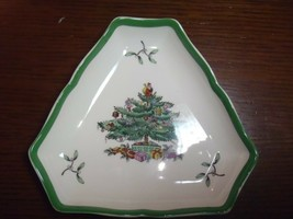 Vintage Spode Christmas Tree Triangle Small Trinket Candy Dish Tray S3324 - $18.69