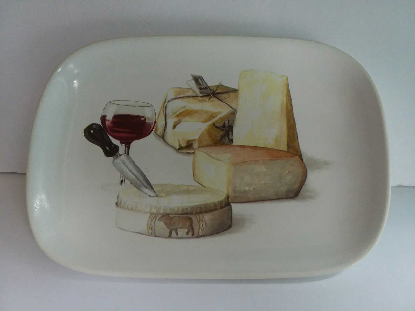Italy Ceramisia Cheese Appetizer Sandwich Plate Entertaining Wine Party EXC & Italy Ceramisia Cheese Appetizer Sandwich and 50 similar items