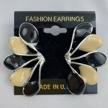 Enamel Earrings Big Large Fan Wing Shaped Black Cream NOS 80s 90s Pierce... - $10.25