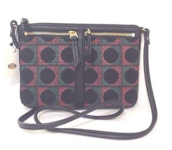 Fossil Erin Black Grey Pink Canvas Leather Small Cross Body Shoulder Bag - $86.51