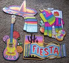 Beistle Die Cuts Diecut Mexican Fiesta Sombrero Guitar Pinata 4 Pcs Vintage 1991 - $13.10