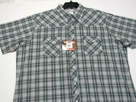 Wrangler Wrancher Plaid Pearl Snap Short Sleeve Western Shirt Mens 2X 2X... - $29.69