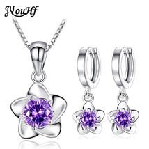JYouHF Elegant Flower Earring Necklace Set Fashion White Purple AAA Zirc... - $26.76