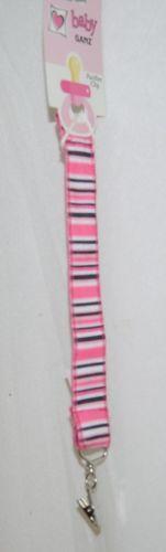 Ganz BG3387 Baby Girl Pink Black White Stripped Pacifier Clip