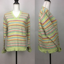 Talbots Rainbow Multi Colorful Zig Zag Striped Pullover Knitted Sweater Vneck - $12.19