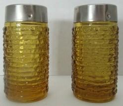 Vintage Anchor Hocking Glass Soreno Honey Gold Salt and Pepper Shakers - $15.99