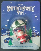 Vtg Avon Santa's Away Pin Sealed In Package Claus Parachute Christmas Ho... - $14.84
