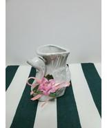 Vintage Opalescent Ceramic Swan Vase Decor - $9.90