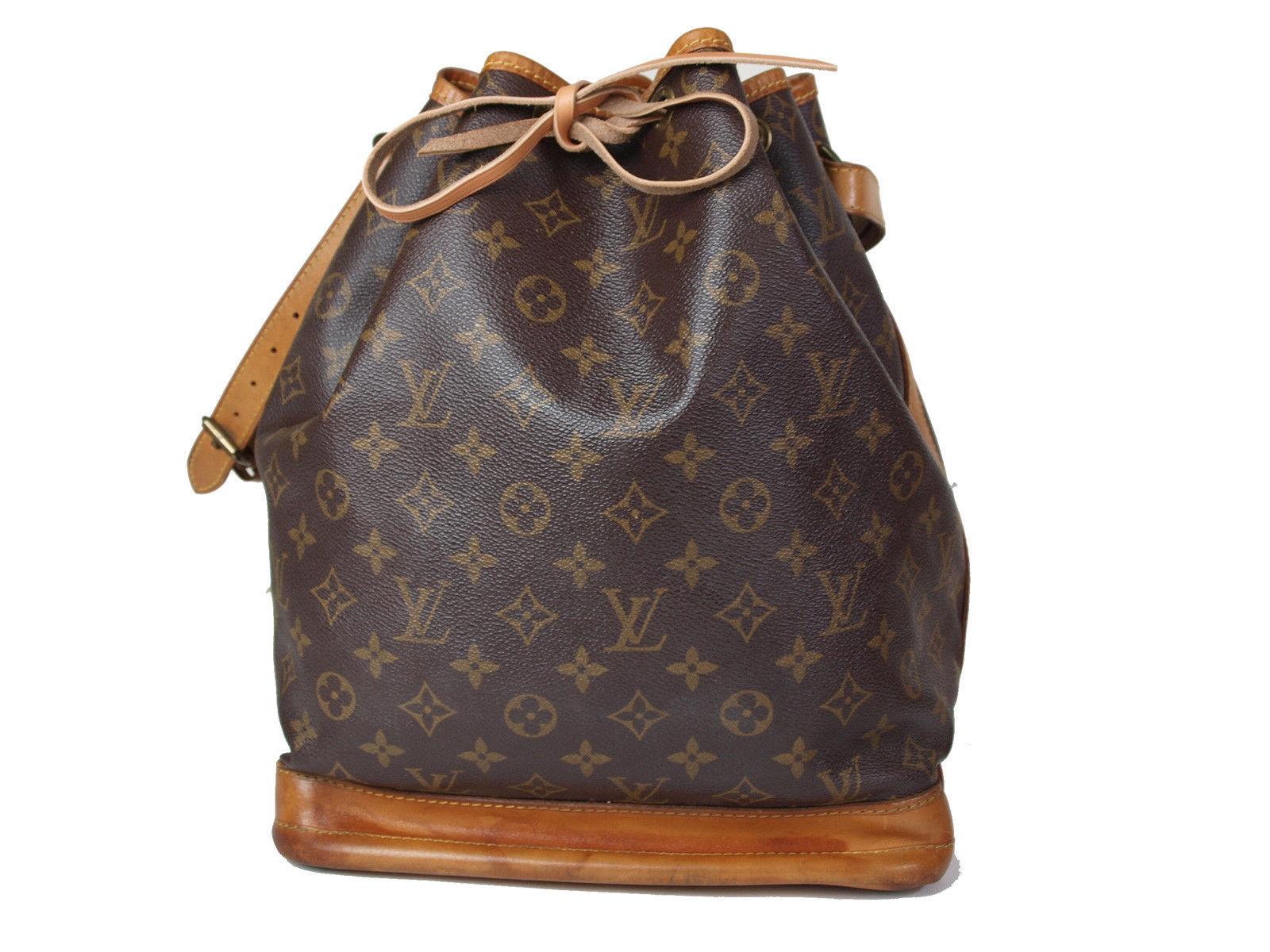 Auth LOUIS VUITTON Noe Monogram Canvas, Leather Drawstring Shoulder Bag LS1237