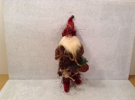 Charming detailed Santa woodland elf w basket staff ornament posable image 2
