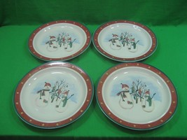 Vintage Set of Four (4) Royal Seasons Stoneware Christmas Plates Snowmen  - $18.66