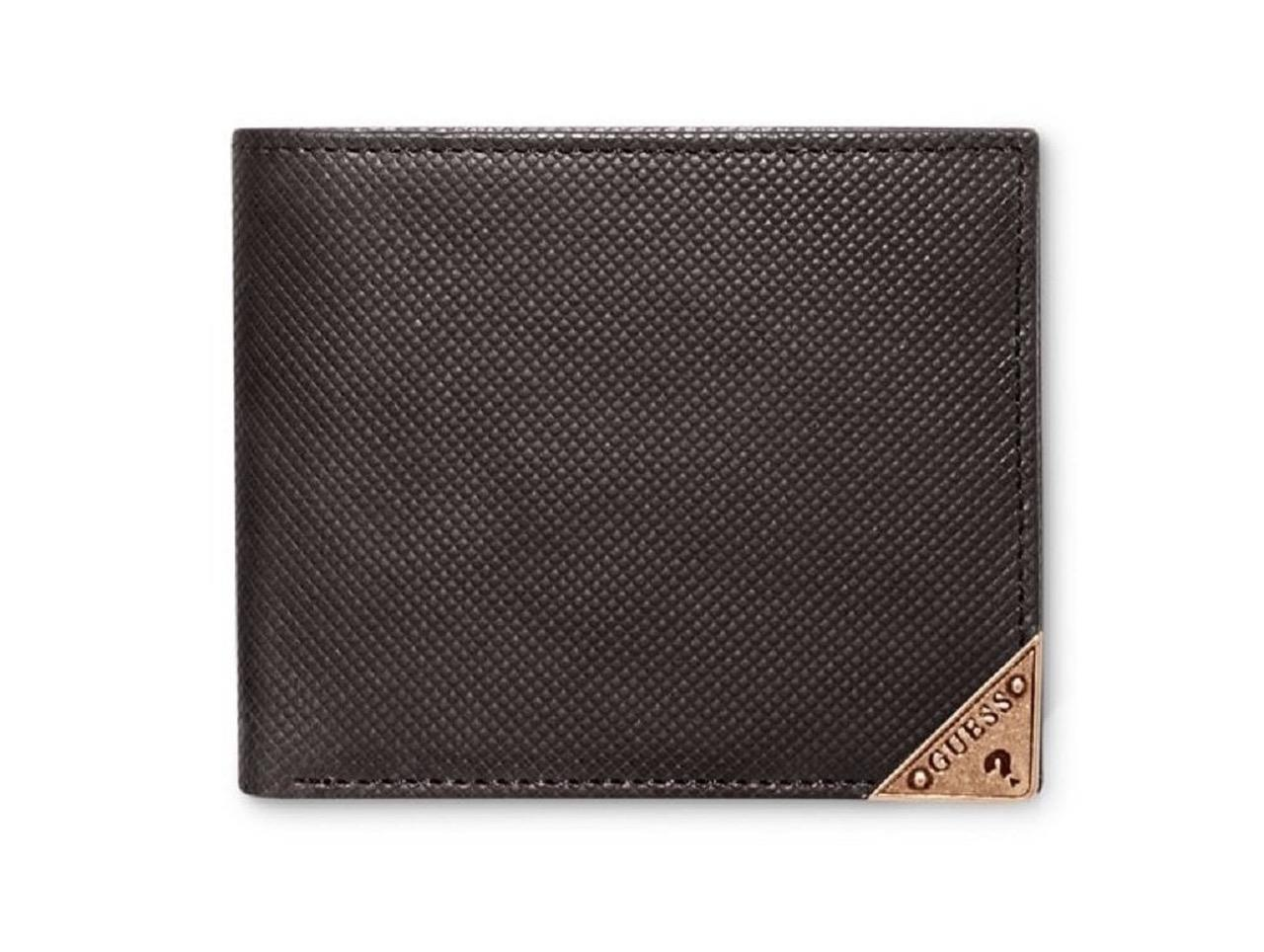 NEW GUESS MEN'S LEATHER DOUBLE BILLFOLD ID WALLET WASHED TOBACCO 31GU13X031