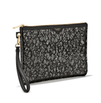 Victoria's Secret Lacy Little Bag Clear/Black PVC Limited Edition Wristlet - $14.84
