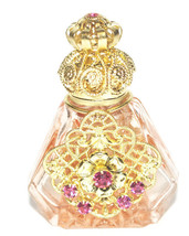 Czech Green Gold Filigree Perfume Bottle / Wholesale - $31.18